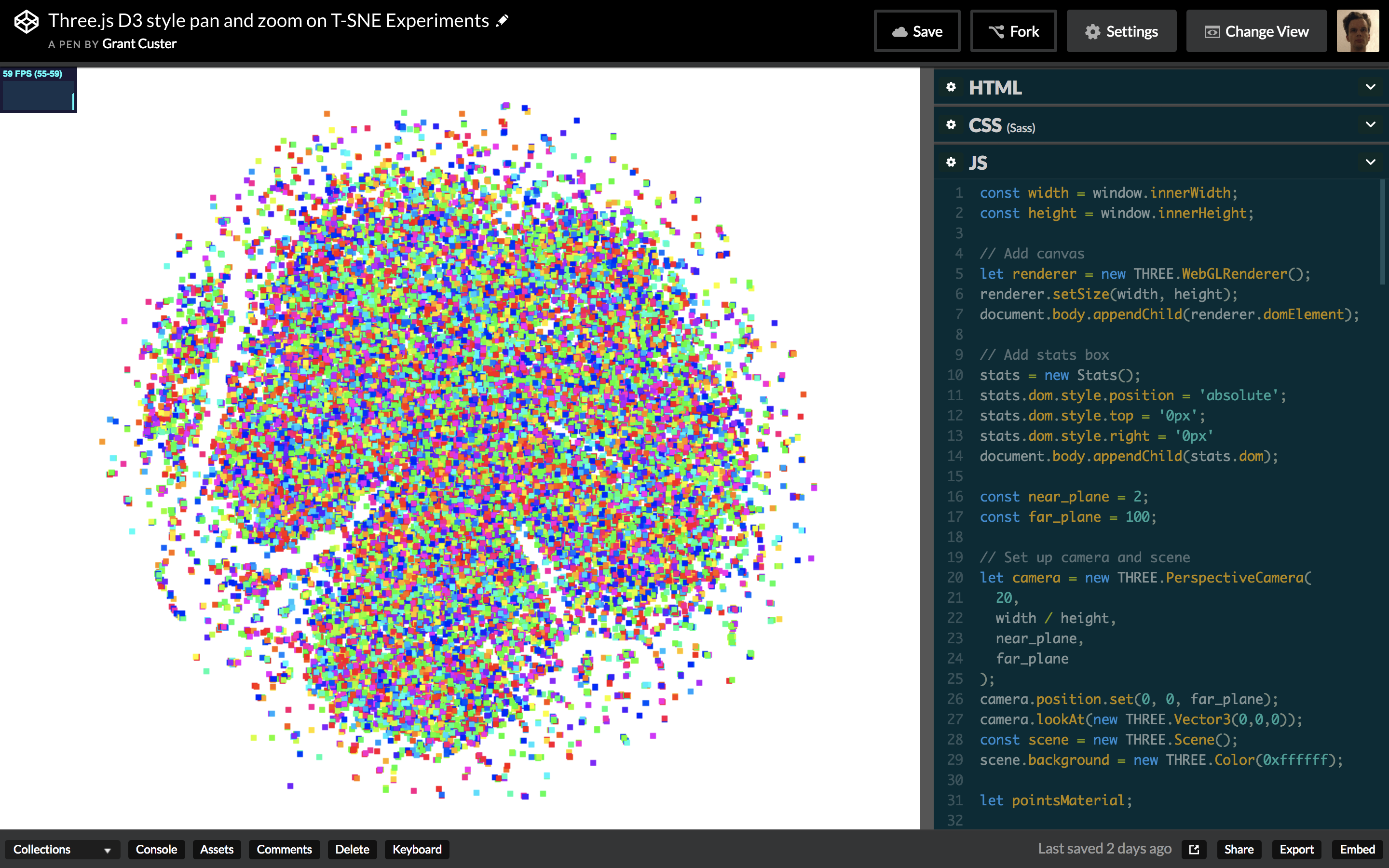 A screenshot of the final working demo: a plotted t-sne with working pan and zoom.