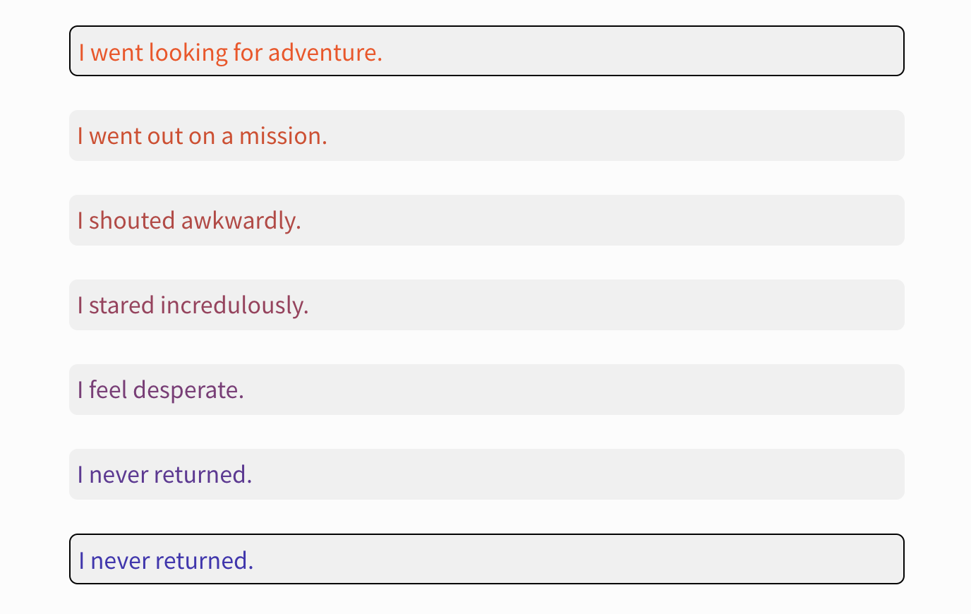 "A screenshot of an example from ""Voyages in Sentence Space."" It shows this example:  ""I went looking for adventure. I went out on a mission. I shouted awkwardly. I stared incredulously. I feel desperate. I never returned. I never returned."""