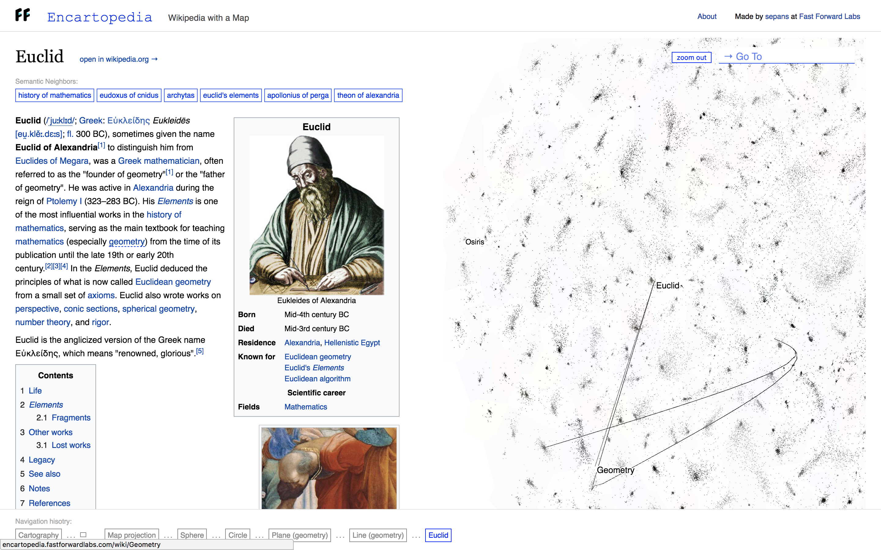 A screenshot of Encartopedia. On the left is the Wikipedia article on Euclid. On the right is a visualization of the articles on Wikipedia and a line showing the user's journey through other articles to get to the Euclid article.