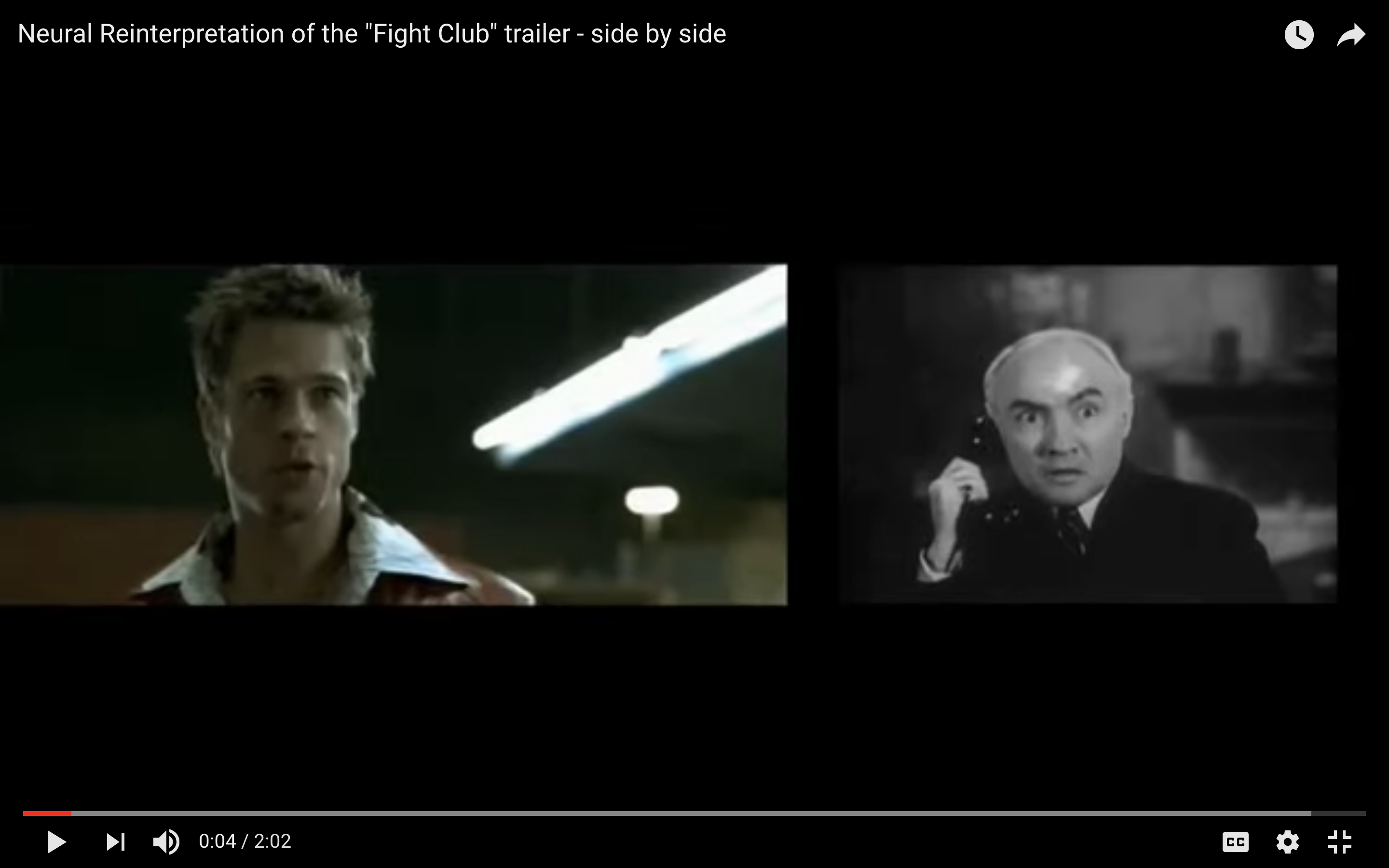 On the left is a shot of Brad Pitt from Fight Club; on the right is a man holding a telephone with a similar expression from the archive footage.