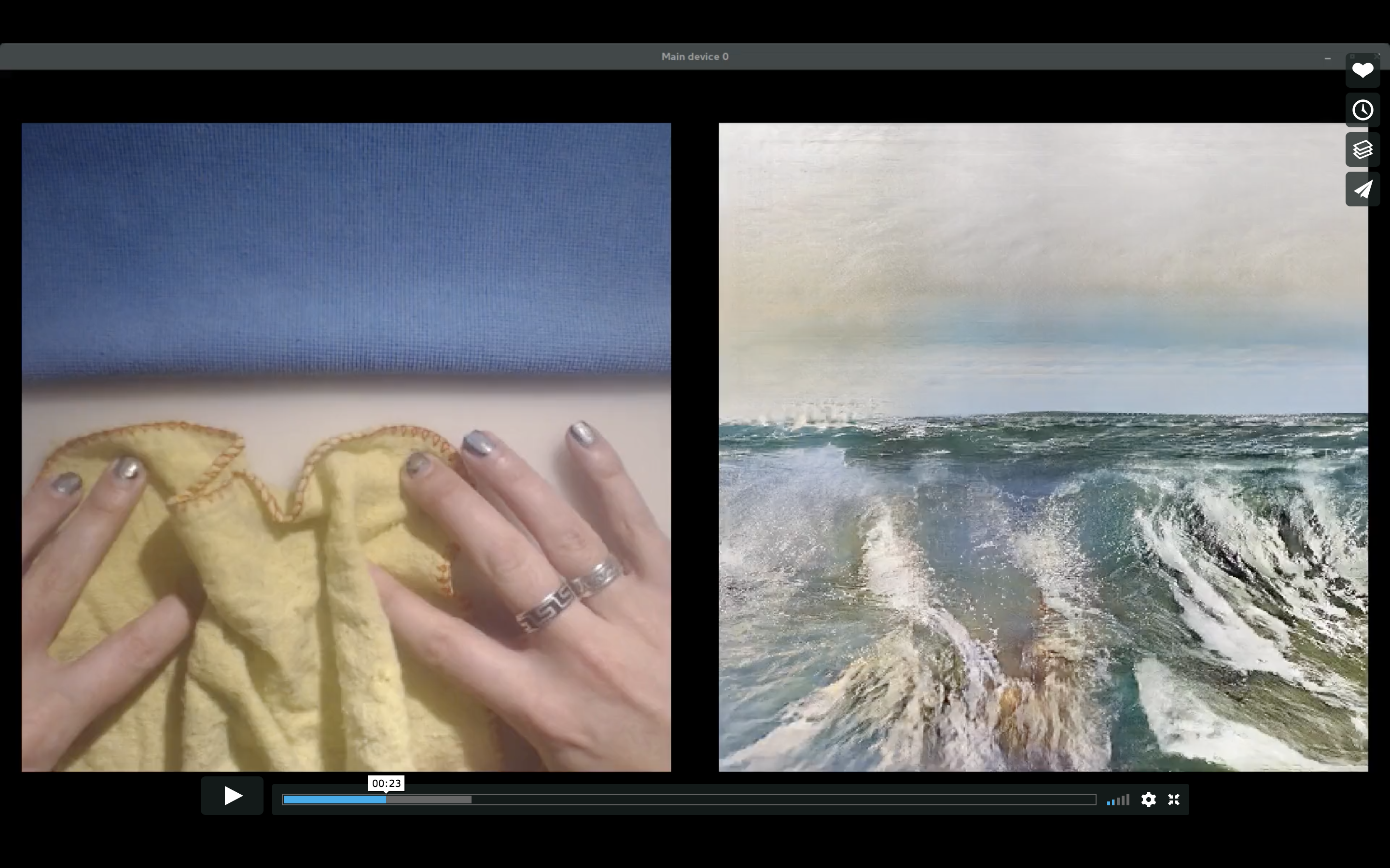 A screenshot of the video by Memo Atken. On the left is a blanket being scrunched up by hands; on the right is an image that looks like a painting of waves, where the shape of the waves matches the position of the hands and blanket.